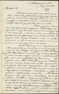 Daniel Bryan, Alexandria, DC. (VA), autograph letter signed to Edgar Allan Poe, 13 May 1842