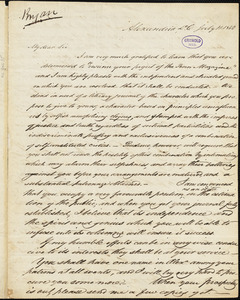Daniel Bryan, Alexandria, DC. (VA), autograph letter signed to Edgar Allan Poe, 11 July 1842