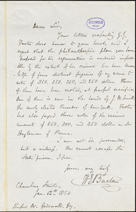 William Evans Burton, Chambers St., autograph letter signed to R.W. Griswold, 12 January 1854