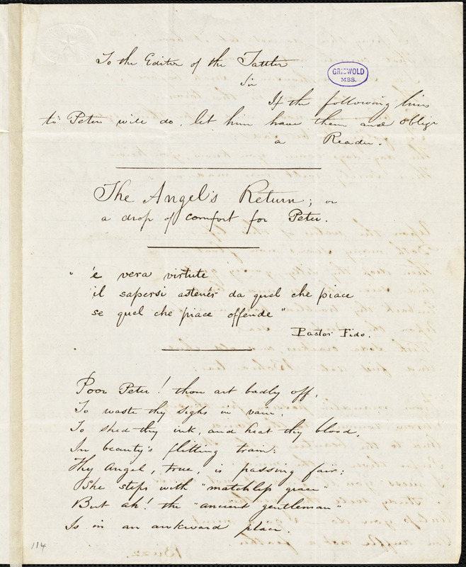"""Buzz (pseudonym), manuscript poem: """"The Angel's Return or a drop of comfort for Peter."""""""