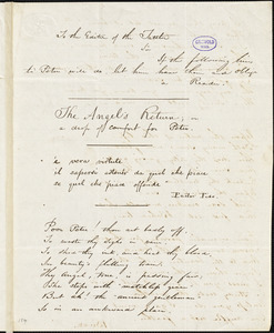 "Buzz (pseudonym), manuscript poem: ""The Angel's Return or a drop of comfort for Peter."""