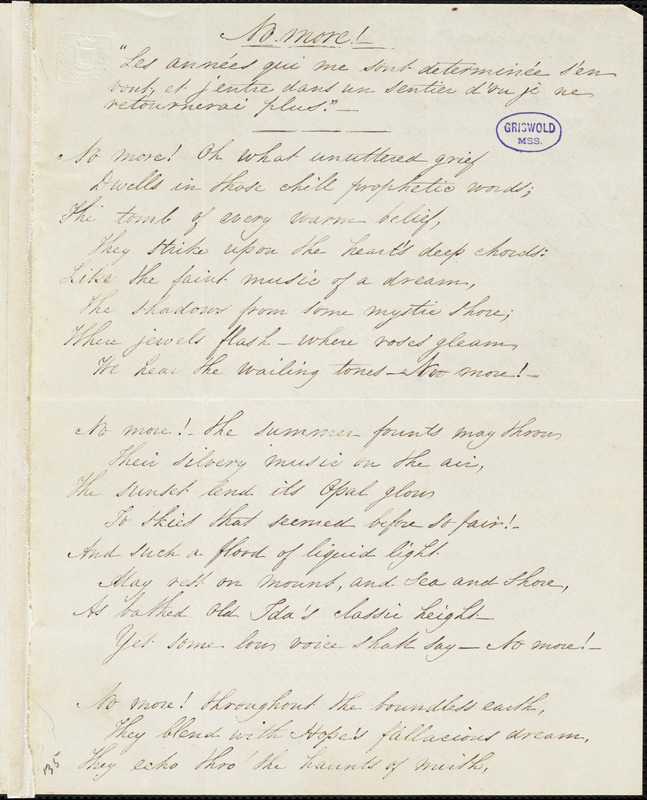 """Manuscript poems: """"No more!"""" and """"The Realms of Thought."""""""