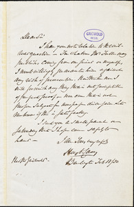 Henry Charles Carey, Burlington, NJ., autograph letter signed to R. W. Griswold, 18 February 1850