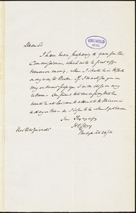 Henry Charles Carey, Burlington, NJ., autograph letter signed to R. W. Griswold, 24 February 1850