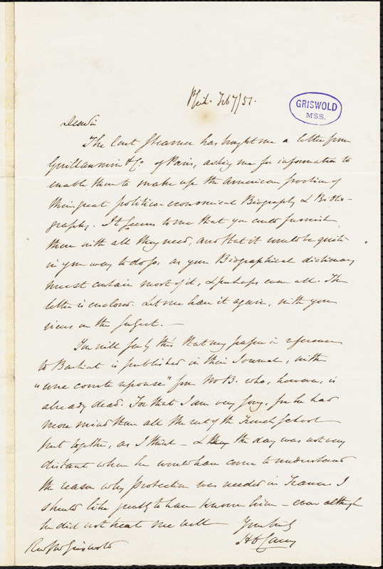 Henry Charles Carey, Philadelphia, autograph letter signed to R. W. Griswold, 7 February 1851