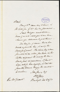 Henry Charles Carey, Burlington, NJ., autograph letter signed to R. W. Griswold, 24 February 1851