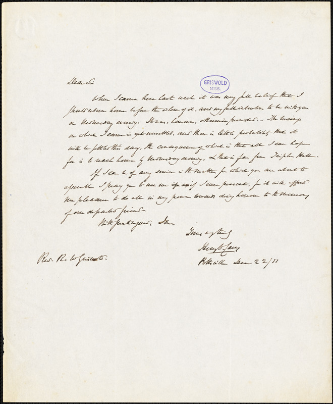 Henry Charles Carey, Pottsville, NY., autograph letter signed to R. W. Griswold, 22 December 1851