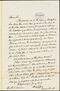 Henry Charles Carey, Burlington, NJ., autograph letter signed to R. W. Griswold, 28 January [1852?]