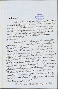 Henry Charles Carey, Burlington, NJ., autograph letter signed to R. W. Griswold, 25 February 1852