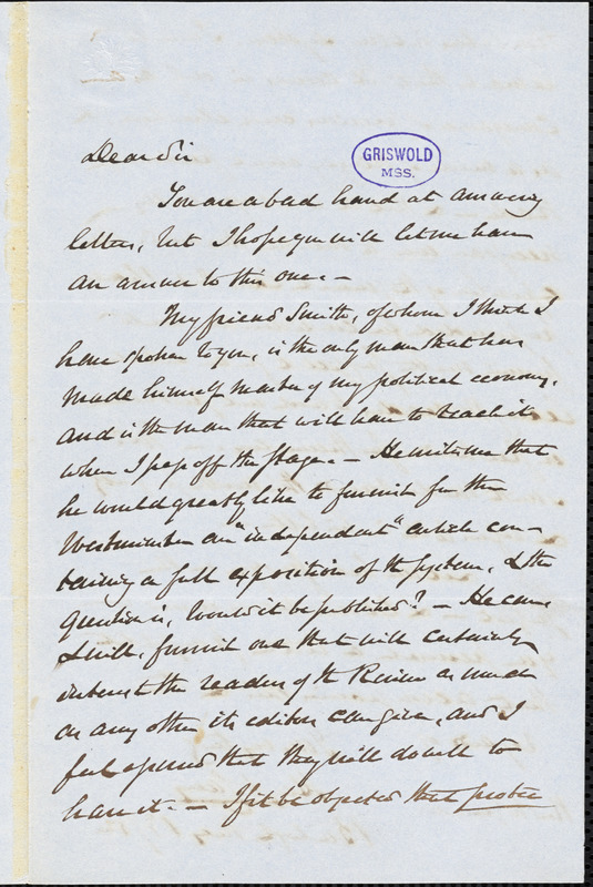 Henry Charles Carey, Burlington, NJ., autograph letter signed to R. W. Griswold, 13 May 1852