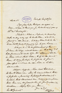 Henry Charles Carey, Burlington, NJ., autograph letter signed to R. W. Griswold, 18 May 1852