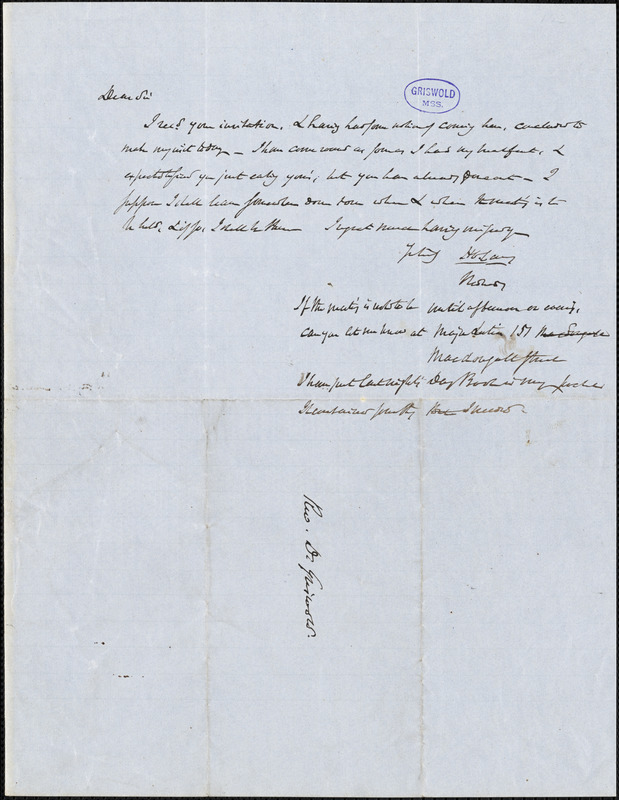 Henry Charles Carey, Monday, autograph letter signed to R. W. Griswold
