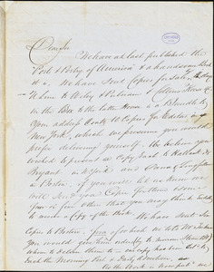 Carey and Hart, Philadelphia, PA., autograph letter signed to R.W. Griswold, 18 April 1842