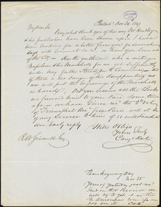 Carey and Hart, Phildadelphia, PA., autograph letter signed to R.W. Griswold, 24 November 1847