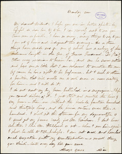 Alice Cary, Monday noon, autograph letter signed to R. W. Griswold, [1855?]