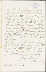 Alice Cary, Thursday morning, autograph letter signed to R. W. Griswold, [1851-1852?]