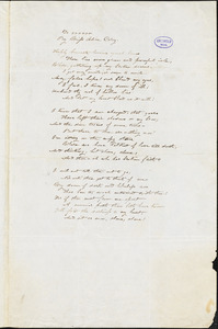 Alice Cary, Cincinnati, OH., manuscript poem to Gamaliel Bailey Jr., 27 August [1847-1852]