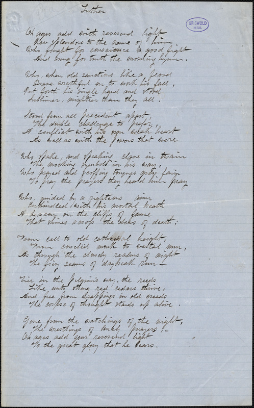 """Alice Cary manuscript poem: """"Luther."""""""