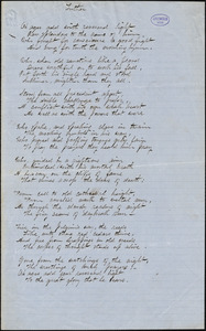 "Alice Cary manuscript poem: ""Luther."""