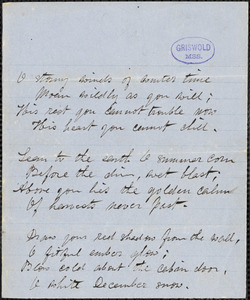 "Alice Cary manuscript poem: ""O stormy winds of winter time."""
