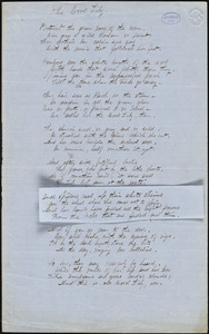 "Alice Cary manuscript poem: ""The Wood Lily."""