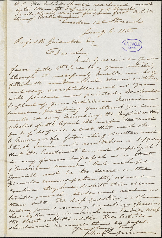 John Chapman, London., autograph letter signed to R. W. Griswold, 6 January 1852