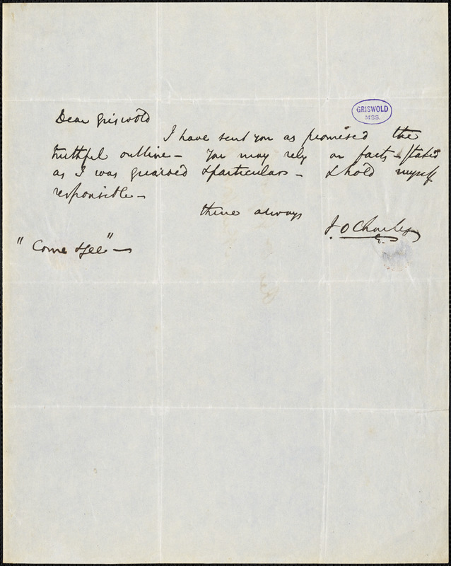 J. O. Charles autograph letter signed to R. W. Griswold