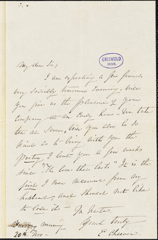 Elizabeth Hoppin (Wetmore) Cheever autograph letter signed, 20 November