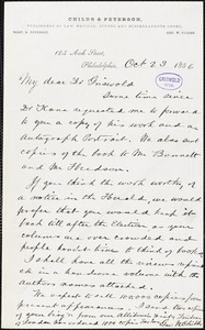 George William Childs, Philadelphia, PA., autograph letter signed to R. W. Griswold, 23 October 1856