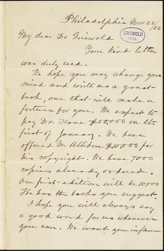 George William Childs, Philadelphia, PA., autograph letter signed to R. W. Griswold, 22 November 1856