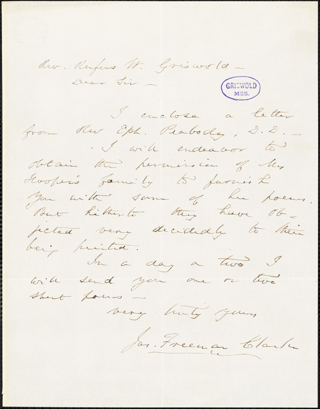 James Freeman Clarke autograph letter signed to R. W. Griswold