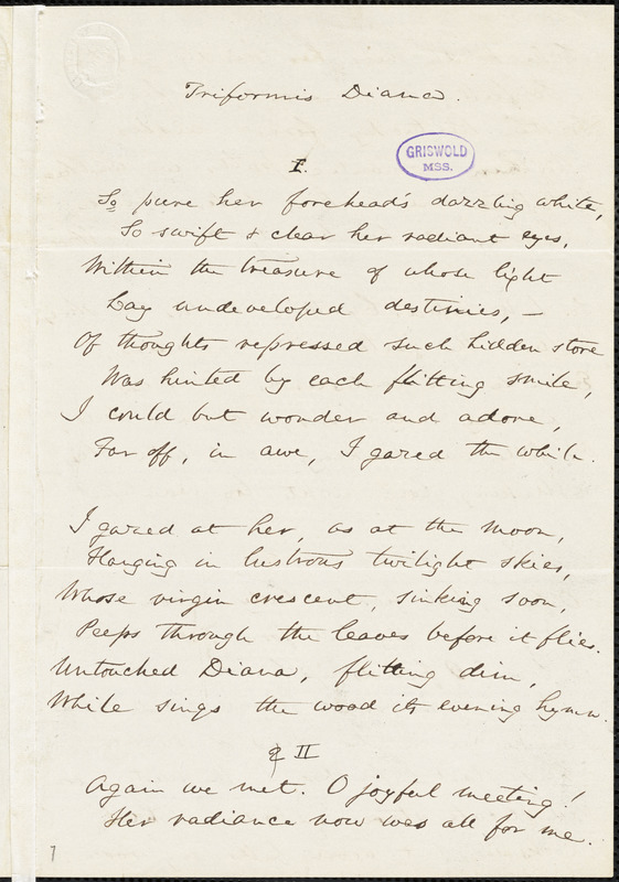 "James Freeman Clarke manuscript poem: ""Triformis Diana."""