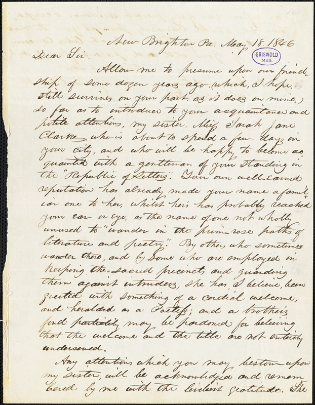 John Badger Clarke, New Brighton, PA., autograph letter signed to R. W. Griswold, 18 May 1846