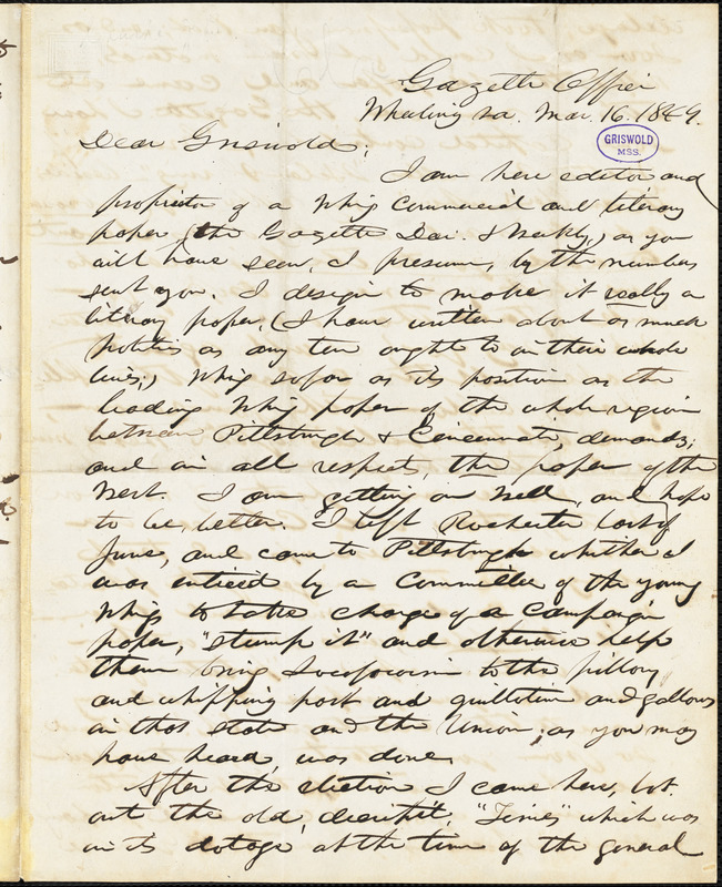 John Badger Clarke, Wheeling, VA., autograph letter signed to R. W. Griswold, 16 March 1849