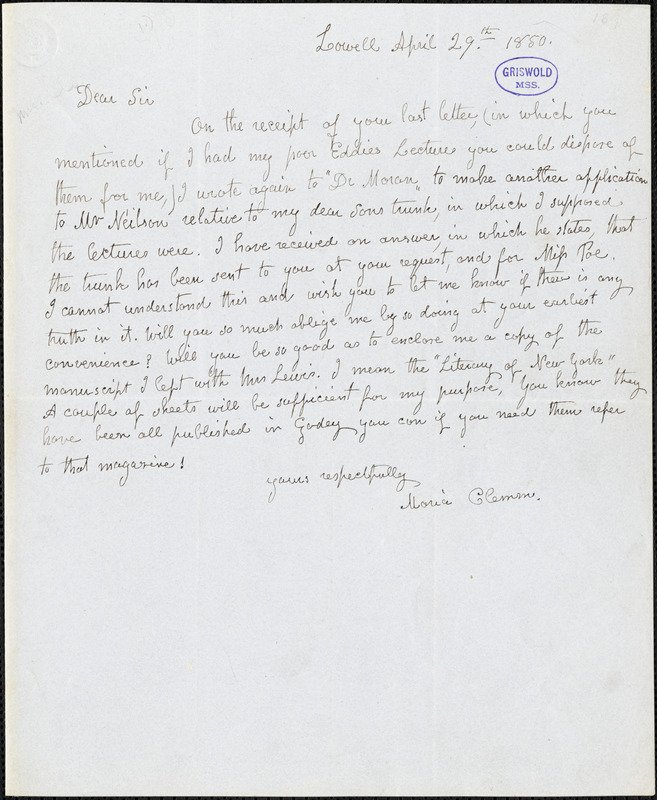 Maria (Poe) Clemm, Lowell., autograph letter signed to R. W. Griswold, 29 April 1850