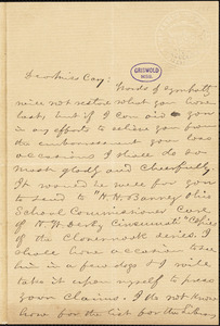 William Turner Coggeshall, Cincinnati, OH., autograph letter signed to [Alice] Cary [after 1854?]