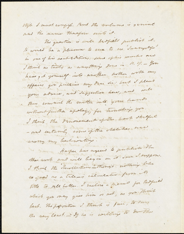 John Esten Cooke, Richmond, VA., autograph letter signed to R. W. Griswold, 8 May 1853