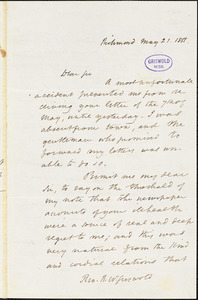 John Esten Cooke, Richmond, VA., autograph letter signed to R. W. Griswold, 21 May 1855