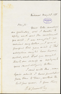 John Esten Cooke, Richmond, VA., autograph letter signed to R. W. Griswold, 28 May 1855