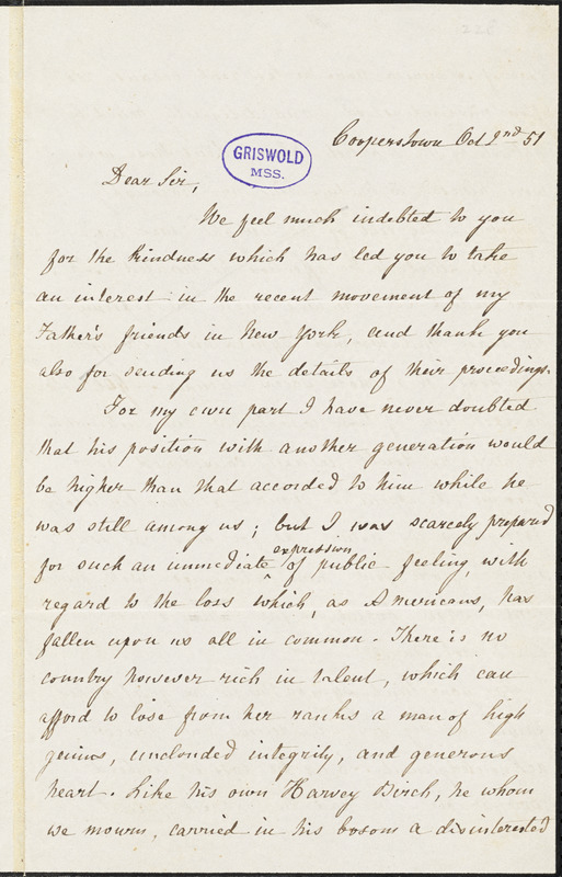Susan Augusta Fenimore Cooper, Cooperstown, NY., autograph letter signed to R. W. Griswold, 2 October 1851