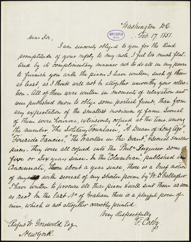 Fortunatus Cosby, Washington, DC., autograph letter signed to R. W. Griswold, 17 February 1851
