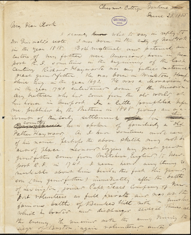 Frederick Swartwout Cozzens, Yonkers, NY., autograph letter signed to [Lewis Gaylord?] Clark, 23 June 1855