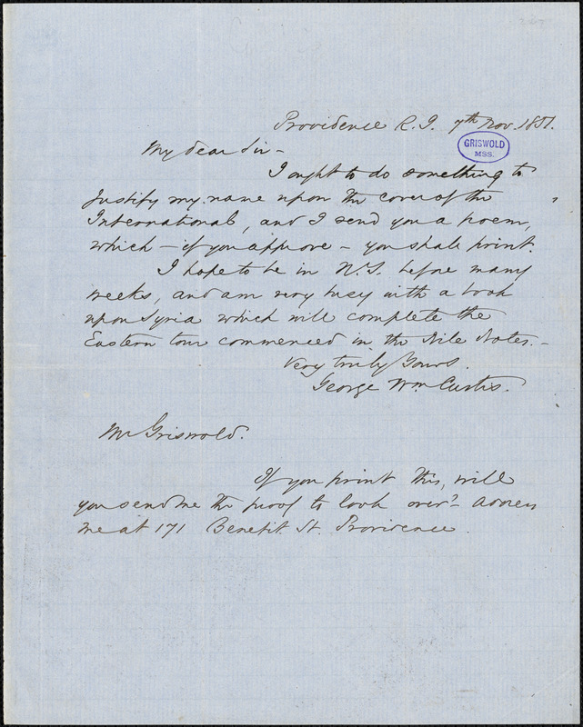 George William Curtis, Providence, RI., autograph letter signed to R. W. Griswold, 7 November 1851
