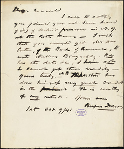 Rufus Dawes autograph letter signed to R. W. Griswold, 9 October 1841