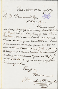 William Lewis Dayton, Trenton, NJ., autograph letter signed to R. W. Griswold, 5 January 1857