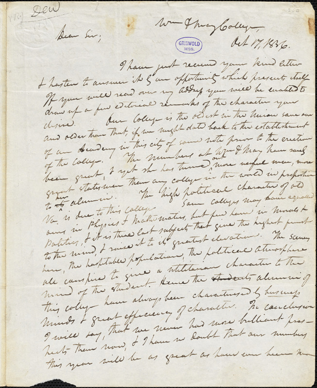 Thomas Roderick Dew, William and Mary College., autograph letter signed to Edgar Allan Poe, 17 October 1836