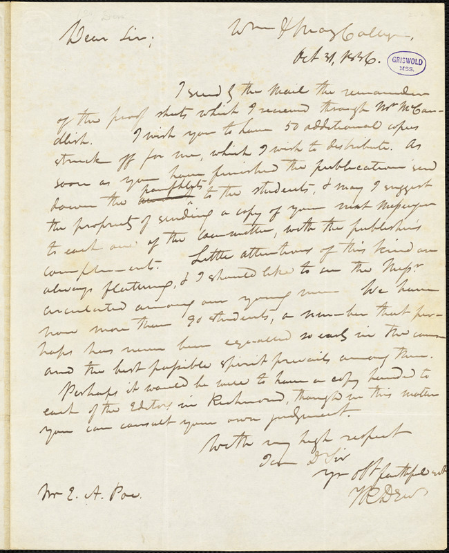 Thomas Roderick Dew, William and Mary College., autograph letter signed to Edgar Allan Poe, 31 October 1836