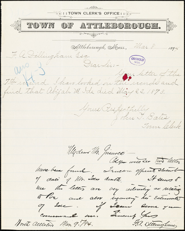 F. A. Dillingham, North Attleboro, MA., autograph letter signed to [W. M.?] Griswold, 8 March 1894