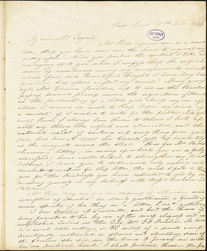 Anna Peyre (Shackleford) Dinnies, St. Louis, MO., autograph letter signed to Frances Sargent (Locke) Osgood, 19 June 1844