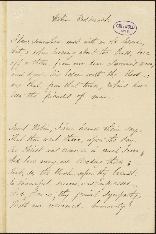"George Washington Doane, Riverside, manuscript poem, [25 January] 1852: ""Conversion of St. Paul. Robin Redbreast. """